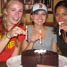 Lab Outing at Bertucci's - Lydia, Natalie, Alex - July 15, 2010